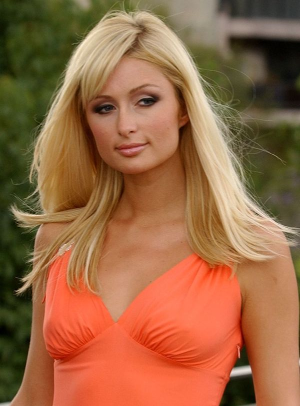 Paris HIlton Looking Cute in an Orange Dress