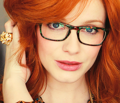 Christina Hendricks wearing eyeglasses